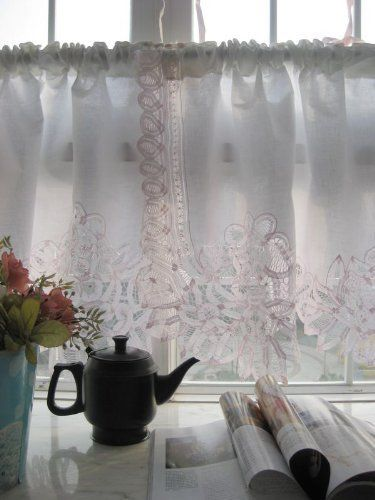 Vintage Pink Battenburg on White Cotton Valance/cafe Curtain by ...