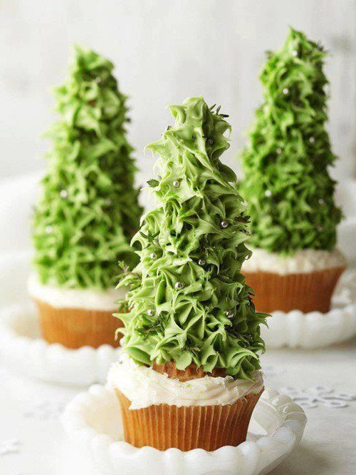 christmas tree cupcakes, add some colored sprinkles & it will be decorated.
