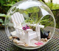 Beach Terrarium  White Adirondack Chair by BeachCottageBoutique,