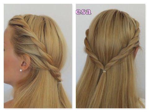 Semirecogido trenza dos cabos peinado facil paso a paso - Trenzas peinados faciles ...