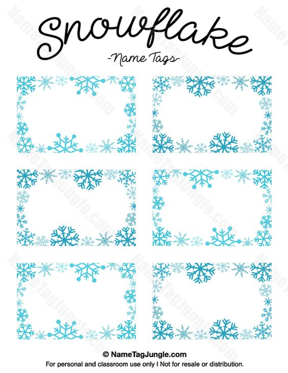 snowflake tags printable tag snowflake printable name tags snowflakes ...