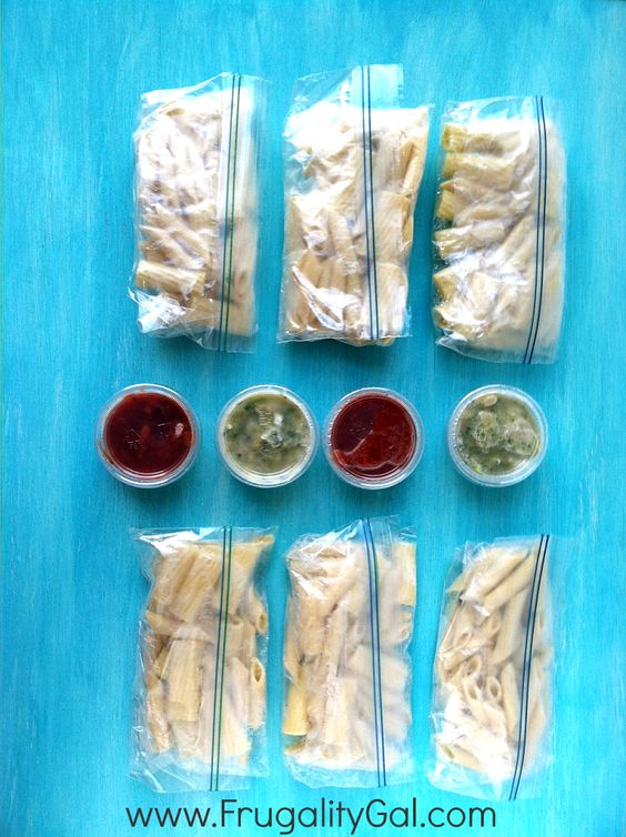 Freezer Cooking Recipes: $0.24 Microwavable Pasta Lunches. Make with whole wheat pasta!