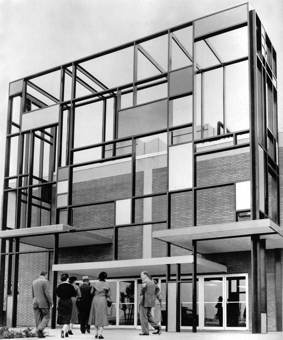 Unknown architectural masterpiece in the manner of De Stijl. Like stepping into a painting by the hand of Piet Mondrian. Architect unknown, possibly early 1950s in the Netherlands.: