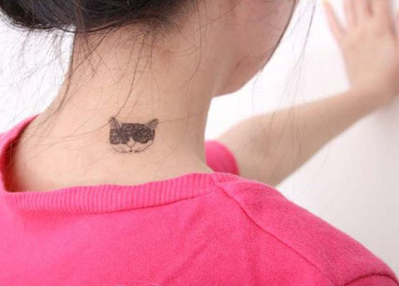 Lovely+rose+cat+design+temporary+tattoo+tattoo+by+nicecoco+on+Etsy