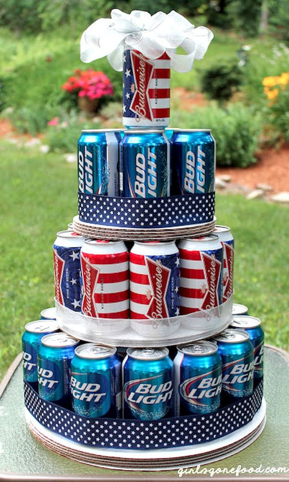 Patriotic 4th of July giant beer can cake. Perfect 4th of July party decoration.