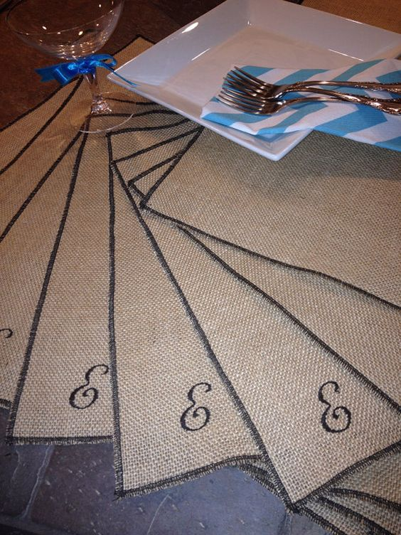 Easter Burlap monogram EMBROIDERED Personalized Embroidered Placemats - set of 8