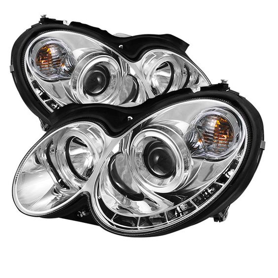 ( Spyder ) Mercedes Benz CLK 03-09 Projector Headlights - Halogen Model Only ( Not Compatible With Xenon/HID Model ) - LED Halo - DRL - Chrome - High H1 (Included) - Low H7 (Included)