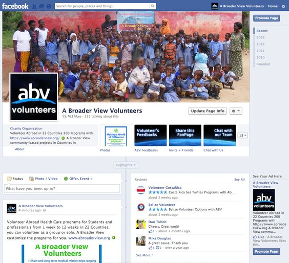 Hi we have a renovated Fan Page on Facebook, check us out and Like us to see what we are doing in our programs, and if you can donate a review with ***** thank you for your support. https://www.facebook.com/abroad.volunteer