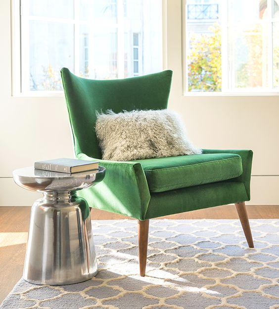 Living Room Ideas. Modern Chairs. Green Velvet Chair