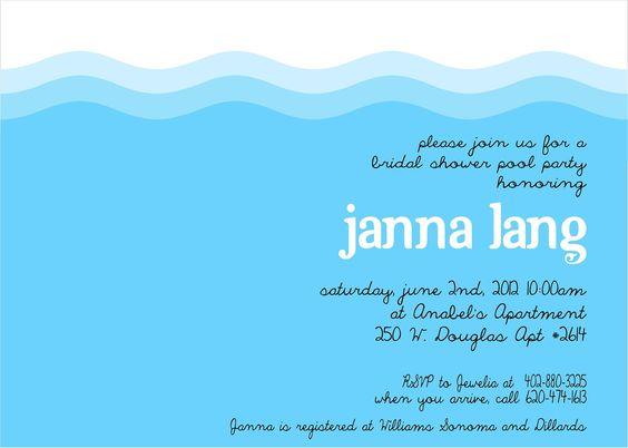 Pool Party Invitation: