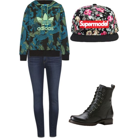 Winter by alannaxjonnesx on Polyvore featuring polyvore, fashion, style, adidas Originals, Paige Denim and Frye