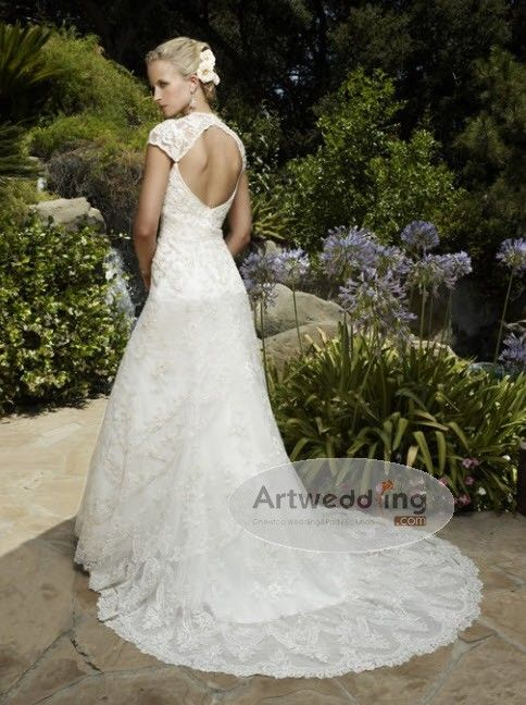 Cap Sleeved All Over Lace Full Length Sweetheart Organza Gown