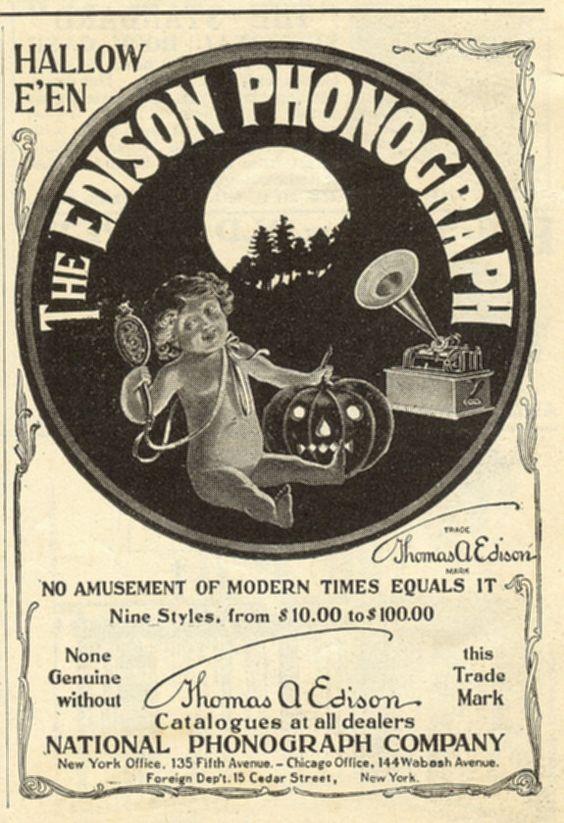 Vintage Halloween Ad ~ Thomas Edison National Phonograph Company ©1901