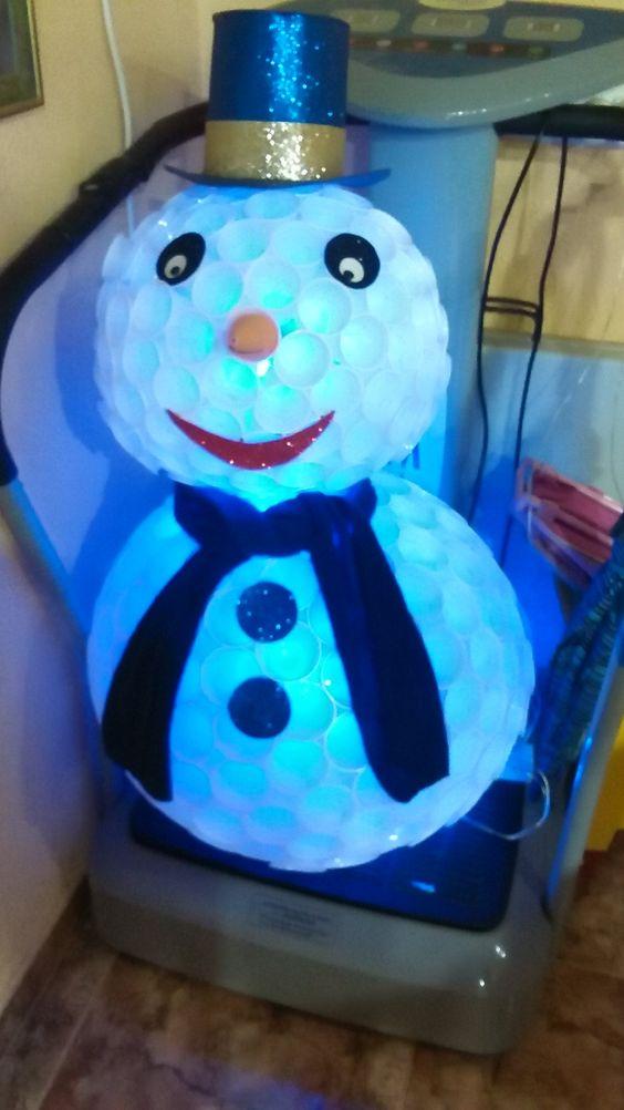 Esta imagen representa un muñeco de nieve elaborado con vasos de plástico. A través de ella, se le puede enseñar a los alumnos dicho concepto (muñeco de nieve). Podemos trabajar también, los materiales con los que está elaborado dicho muñeco, además de proponer hacer uno en clase con materiales parecidos o de otra forma totalmente distinta. Trabajaremos  así, con ellos, la diversidad que nos podemos encontrar a la hora de realizar algo nuevo (en este caso, un muñeco de nieve).