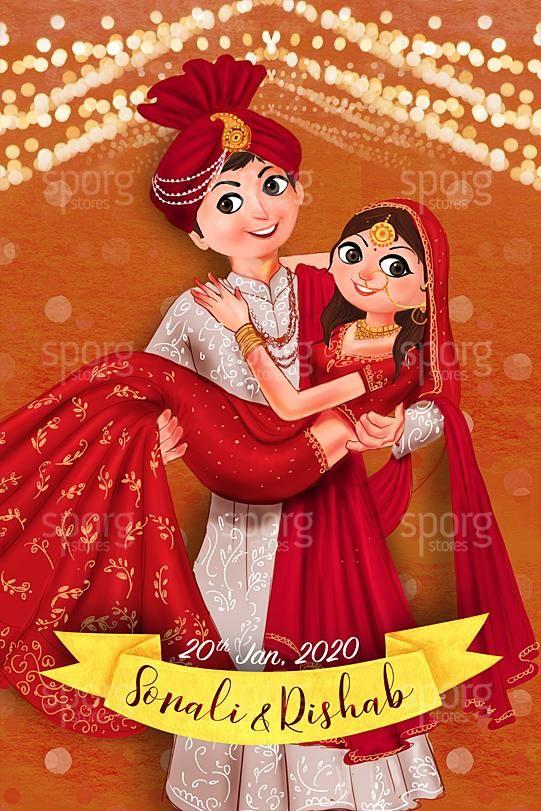 Illustrated North Indian Wedding Invitation Cartoon Wedding Invitations Caricature Wedding Invitations Hindu Wedding Cards