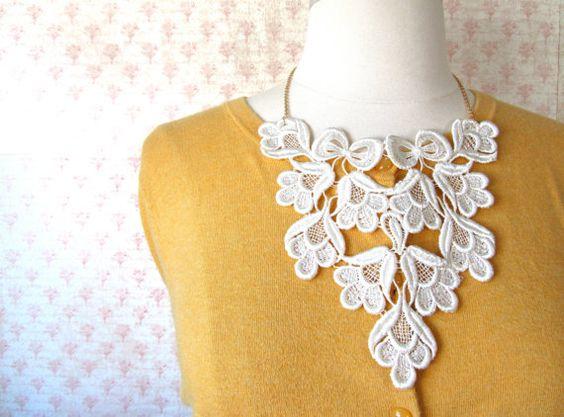 Vintage Lace Bib Necklace - by mintlilly on Etsy, $24.00