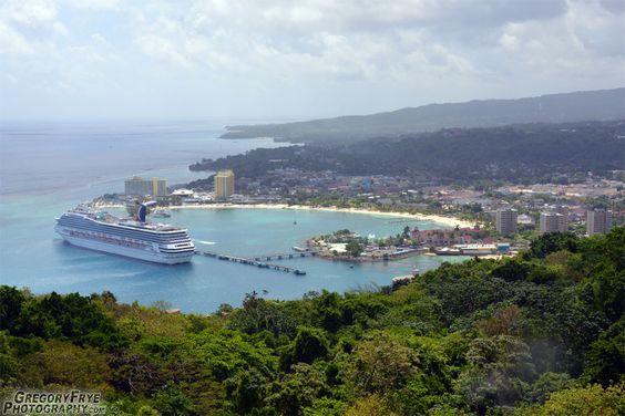Port Ocho Rios Carnival Cruise Ship Docked at Ocho Rios, Jamaica from atop Mystic Mountain