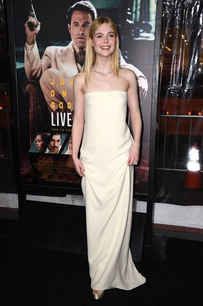 """Actress Elle Fanning attends the premiere of Warner Bros. Pictures' """"Live By Night"""" at TCL Chinese Theatre on January 9, 2017 in Hollywood, California."""