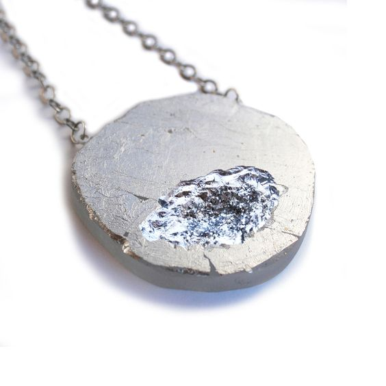 Fab.com | Geode Necklace Silver Leaf