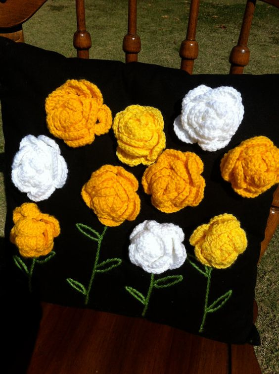 Beautiful Crochet Cushion Yellow Flowers by CommercialRoad: