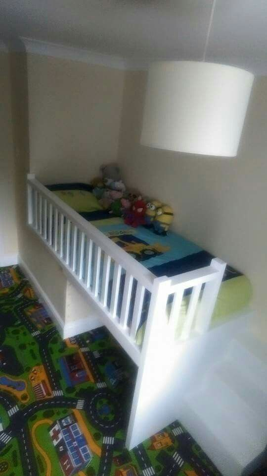 Bed Over Stair Box With Storage And Stairs: This Is Exactly What We Want. It Has A Safety Guard, And
