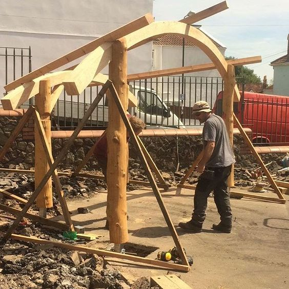 Raising The Frame For The New Outdoor Learning Shelter At Fairlawn