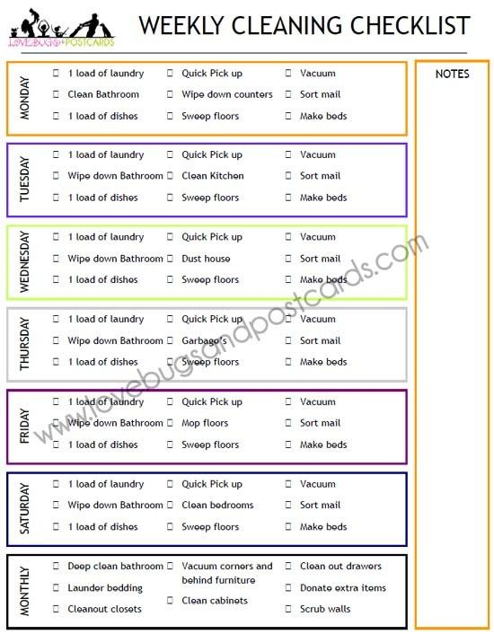 Weekly Cleaning Checklist Printable Weekly Cleaning Checklist