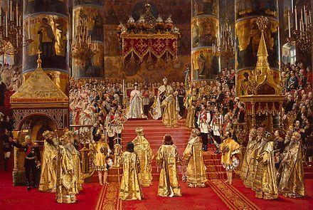 Alexander III receiving the sceptre during his coronation in 1883