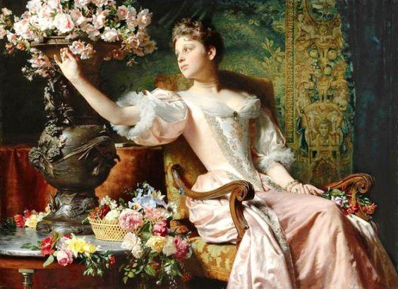 Lady in a Purple Dress with Flowers by Ladislas Wladislaw von Czachorski