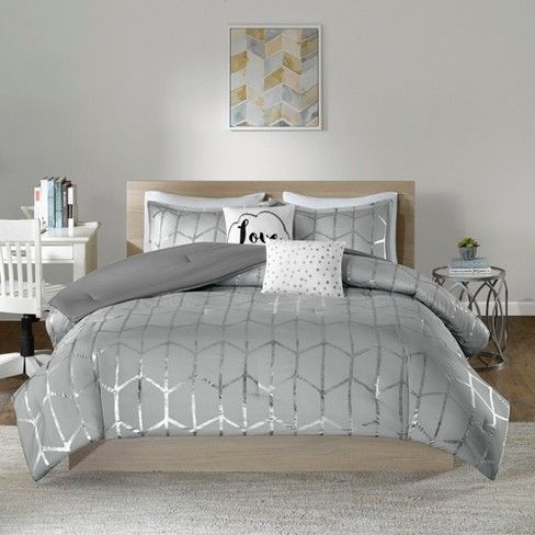 Gray Silver Arielle Brushed Comforter Set Twin Twin Xl 4pc