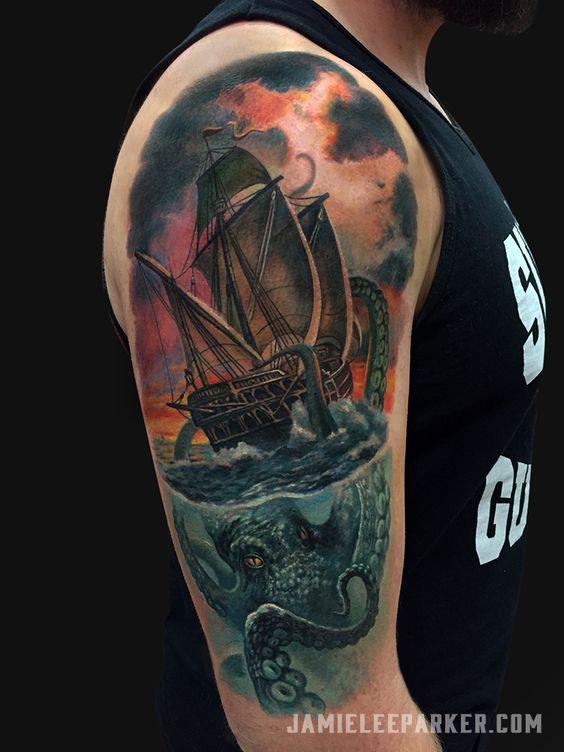 Nautical Tattoo Poseidon And Ship: Image Result For Kraken And Ship Tattoo