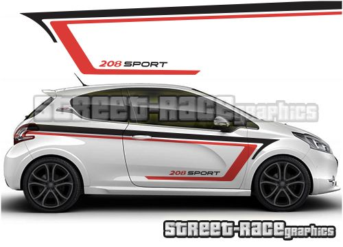 Peugeot 208 Rally Racing Stripe Car Graphics Decals Stiker