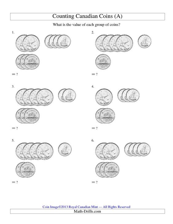 math worksheet : counting small collections of canadian coins no dollar coins  a  : Canadian Math Worksheets