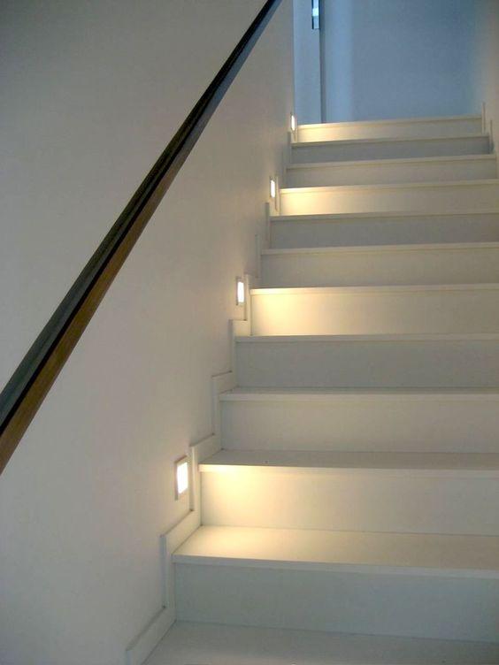 Lighting Basement Washroom Stairs: Soft Lighting Adds Nighttime Warmth And Assurance.