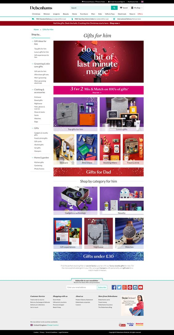Debenhams Products Page With Recommendations Aimed At For Men Website Web Digital Marketing Gifts Gifts For Him Gifts For Dad Christmas Gift Shop