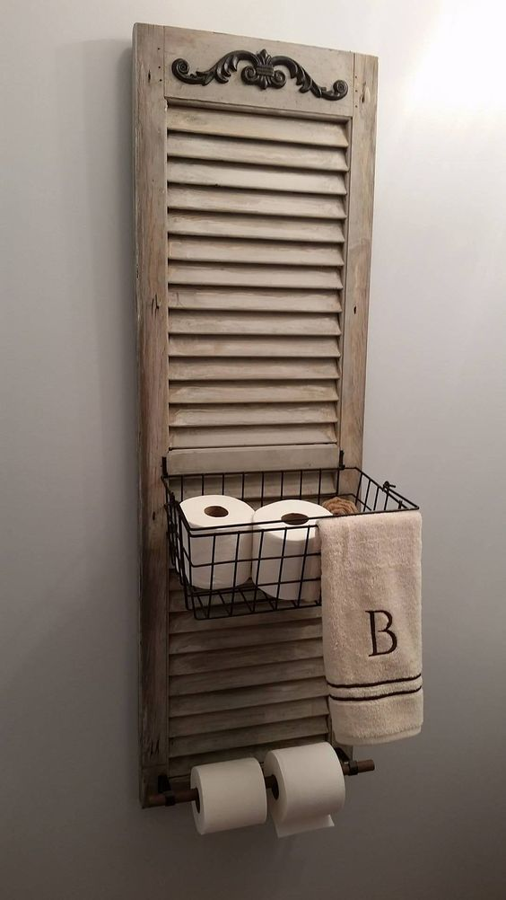 Repurpose wood shutter idea for the bathroom: