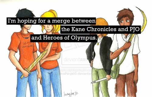 There are PJO references in all three of the Kane Chronicle books! And even HOO characters in the third one! (True, its Drew and Lacy, but still!)