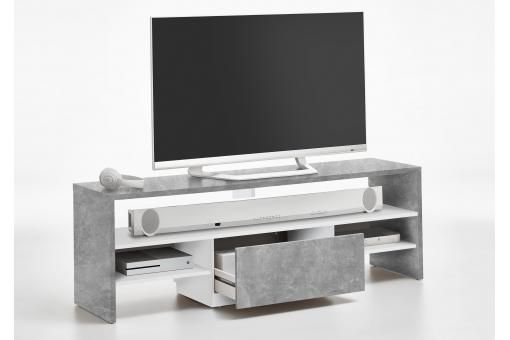 Descriptif Meuble Tv Gris Beton Blanc Project Le Meuble Tv Gris