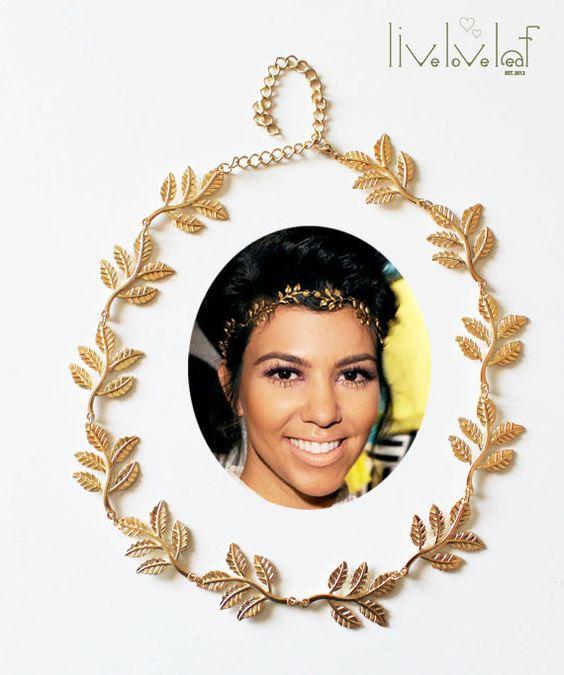 grecian goddess gold leaf headband gold metal leaf hair