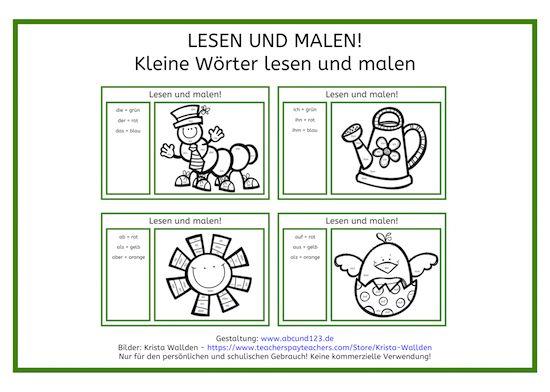 Kleine Wu00f6rter: lesen und malen : Lesen : Pinterest : Deutsch, Blog und Farbe