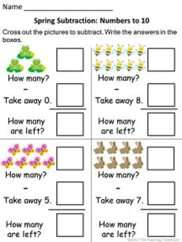 math worksheet : spring addition  subtraction within 10  subtraction worksheets  : Subtraction Within 10 Worksheets