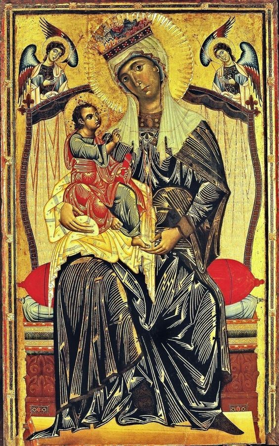 christian fine art mary mother of god | 01 Coppo di Marcovaldo. Mother of God Enthroned. Maestà . Santa Maria ...: