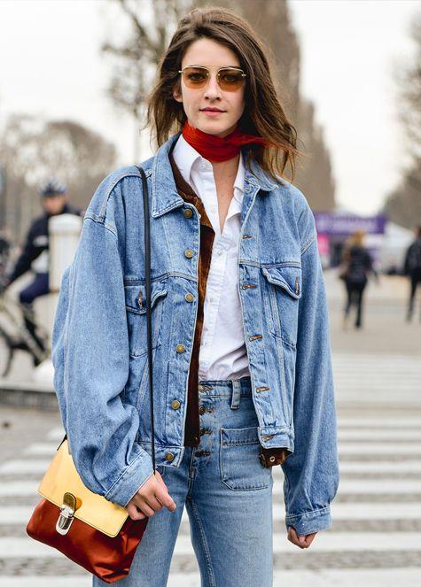 Джинсы и куртка в стиле 90-х #jeans #jacket #totaldenim #blouse #whiteblouse