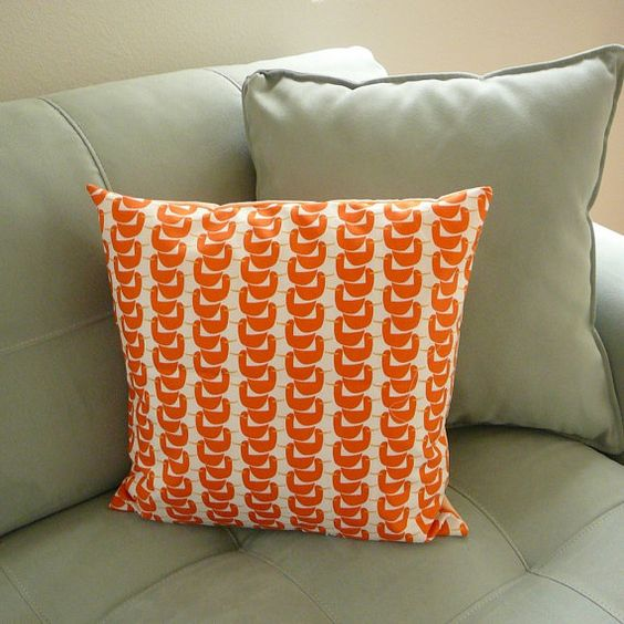 Gaggle of Geese  Orange  Pillow Cover by OliveHandmade on Etsy, $20.00