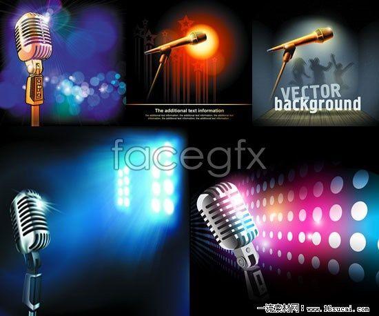 5 microphone matrix background vector