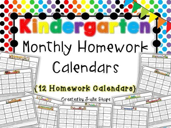 Kindergarten Readiness Calendar : Homework calendar and kindergarten on pinterest