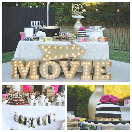 If you 39 re planning an outdoor movie party look here via for Backyard birthday decoration ideas