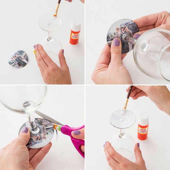 Mod podge wine glass pictures
