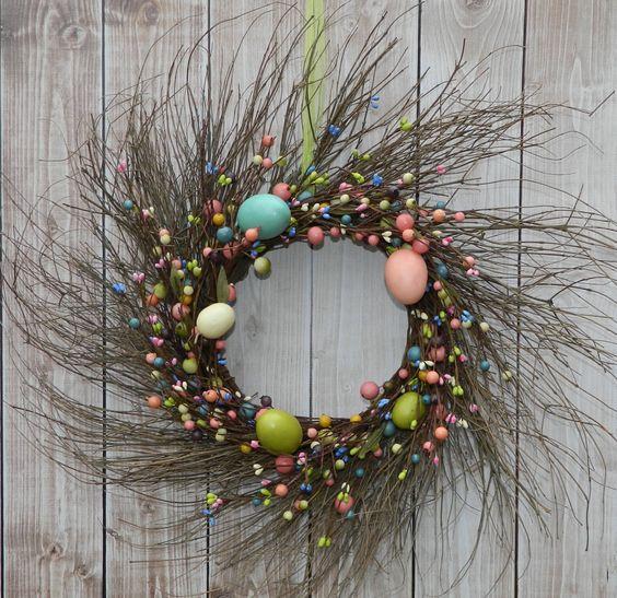 Primitive Wreath - Pastel Wreath - Easter Door Decoration - Easter Decor -