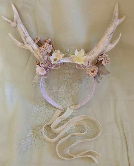 Whimsical Antler Headband... fairy fae pixie wedding flower girl fantasy fawn pan mori girl costume deer flower floral by Jada Dreaming on Etsy $80: